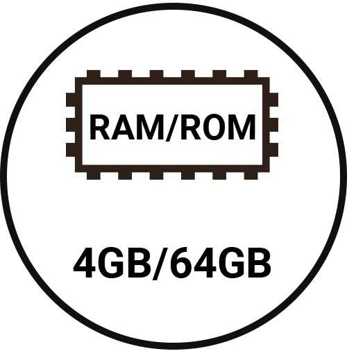 4GB/64GB memory